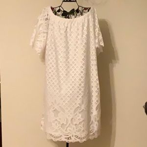 White, lace, knee length dress